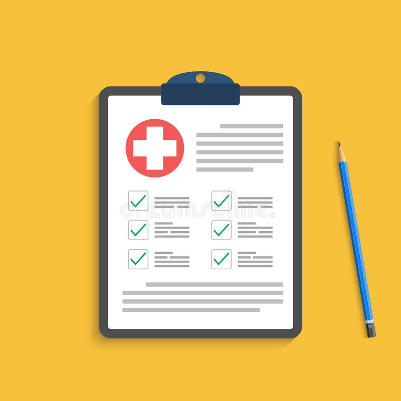 Clipboard with medical cross and pen. Clinical record, prescription, claim, medical check marks report, health. stock photos
