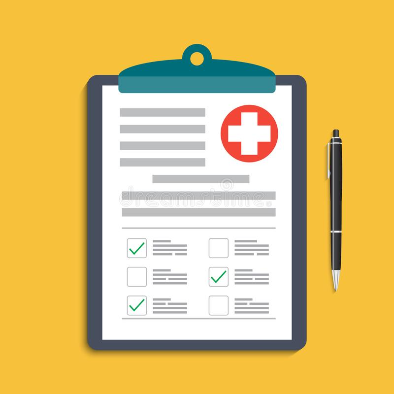 Clipboard with medical cross and pen. Clinical record, prescription, claim, medical check marks report, health insurance concepts. royalty free illustration