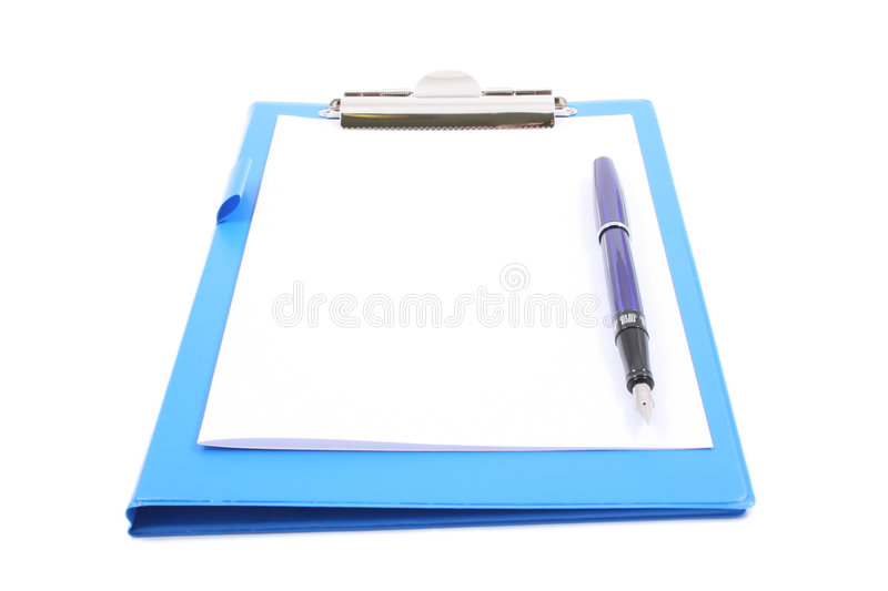 Clipboard with a pen royalty free stock photography