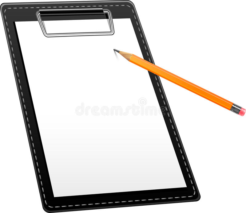 Clipboard and pencil royalty free illustration