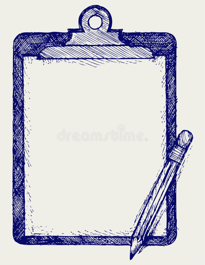 Clipboard with pencil stock illustration