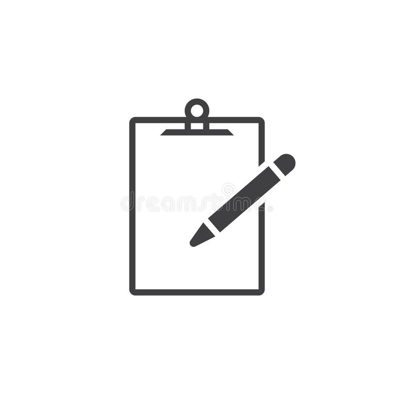 Clipboard and pencil icon , solid logo illustration, picto. Gram isolated on white vector illustration