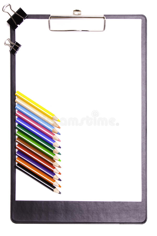 Clipboard with pencils stock photography