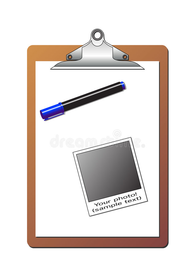 Clipboard polaroid and marker. Clipboard with blank sheet of paper, one polaroid photo and one blue highlighter marker over white background stock illustration