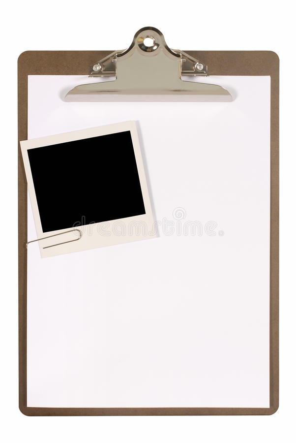 Clipboard with polaroid photo frame, white blank paper, copy space, isolated on white background stock photos