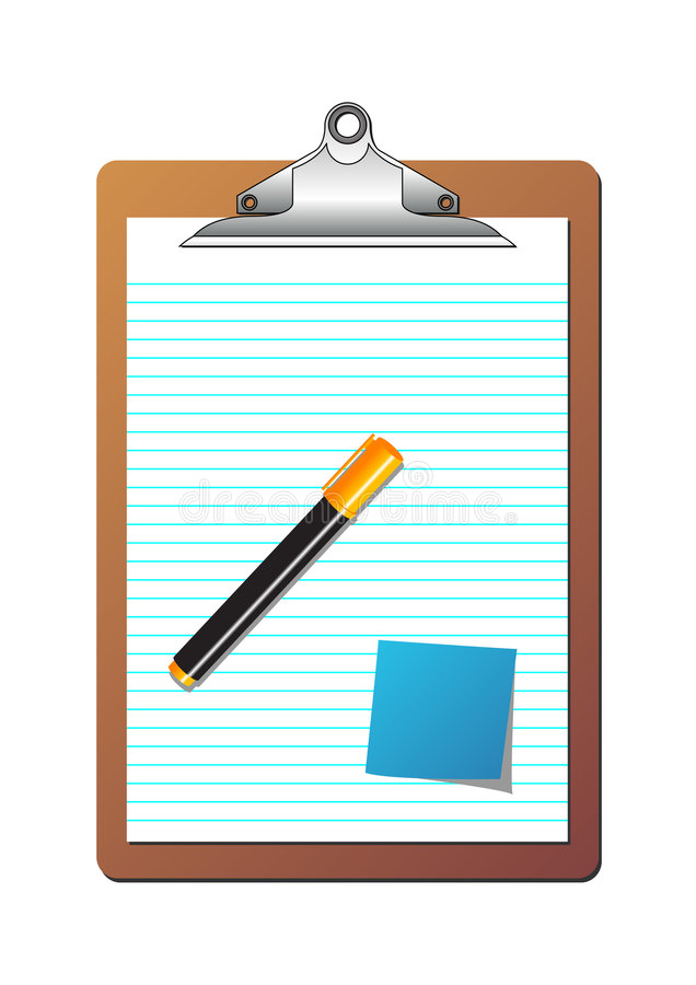 Clipboard post it note and marker. Clipboard with ruled sheet of paper, one post it note and one highlighter orange marker over white background royalty free illustration