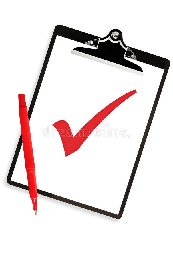 Clipboard with Red Tick and Pen stock illustration