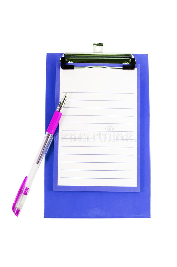 Clipboard with sheet isolated on white. Backgrounds royalty free stock image