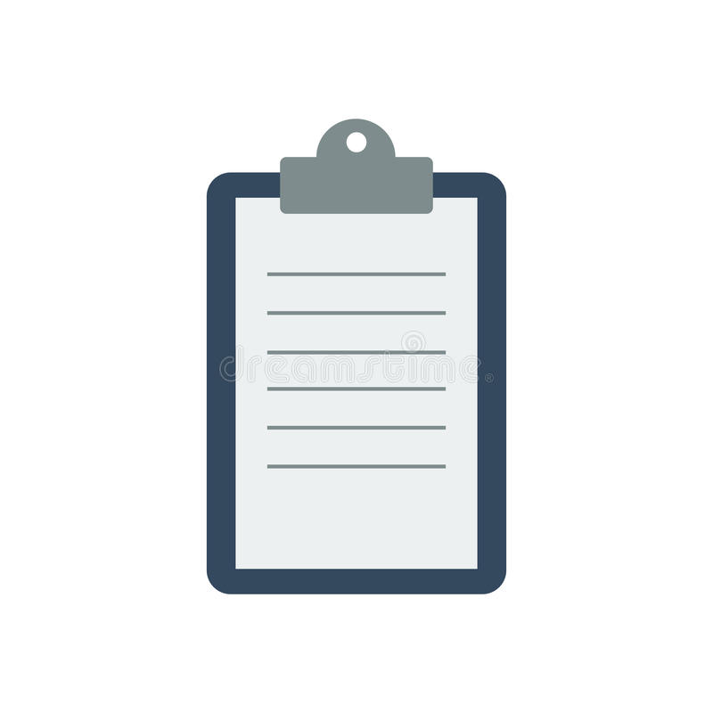 Clipboard with a sheet of paper royalty free illustration