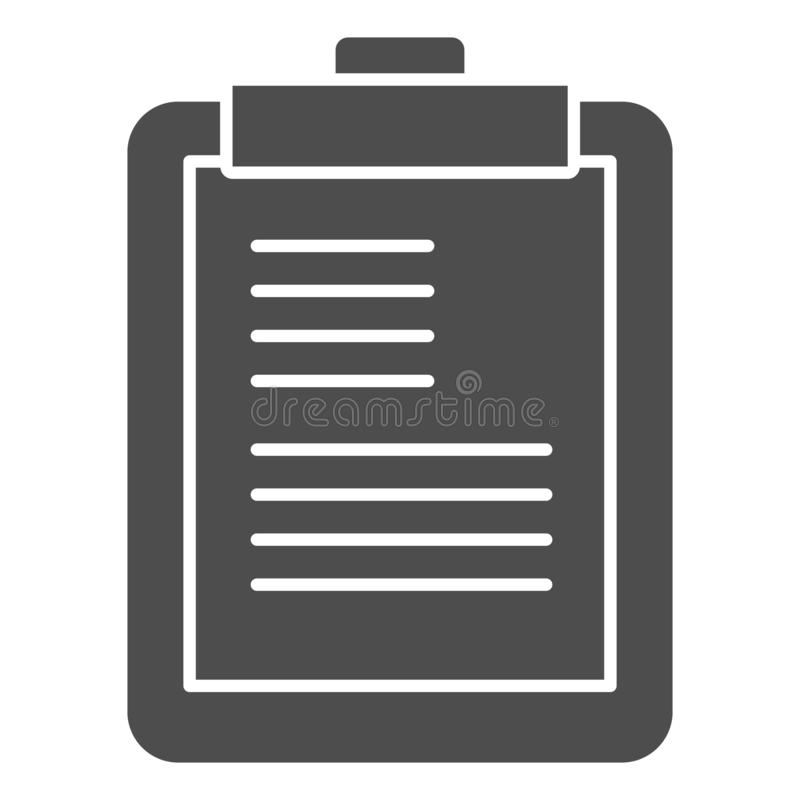 Clipboard solid icon. Scheduler vector illustration isolated on white. Notepad glyph style design, designed for web and. App. Eps 10 vector illustration