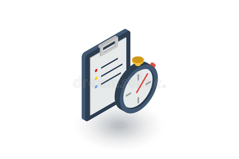 Clipboard and stopwatch. Time management, control, planning isometric flat icon. 3d vector vector illustration