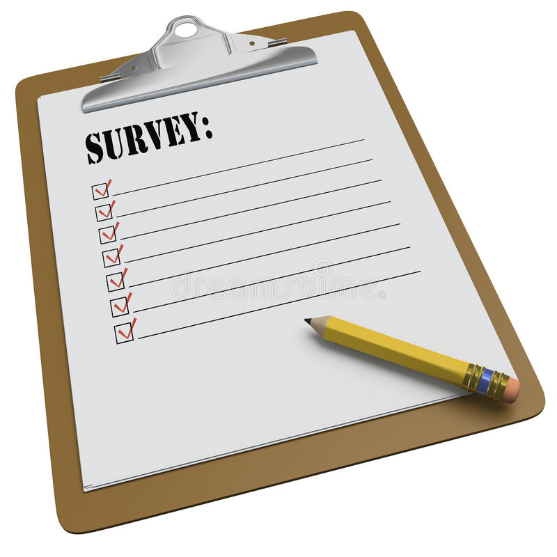 Clipboard with SURVEY message and checkboxes