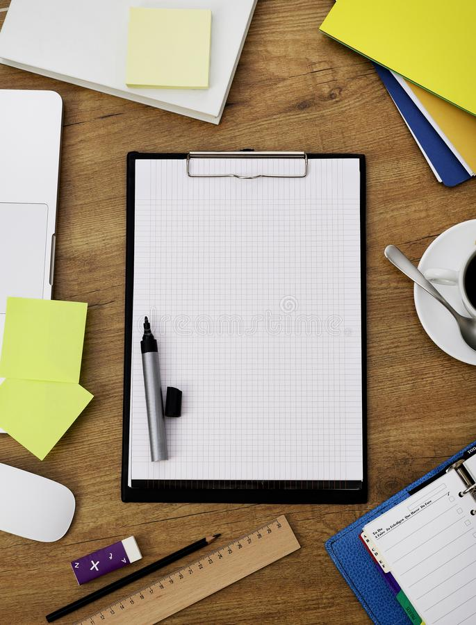 Clipboard on table royalty free stock photos