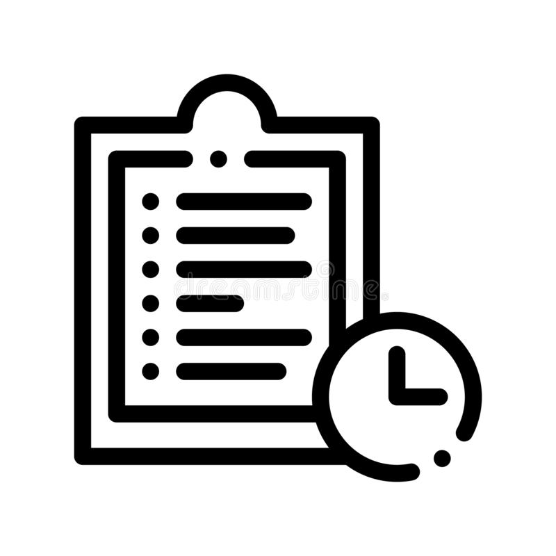 Clipboard Tablet With Tasks Vector Thin Line Icon royalty free illustration