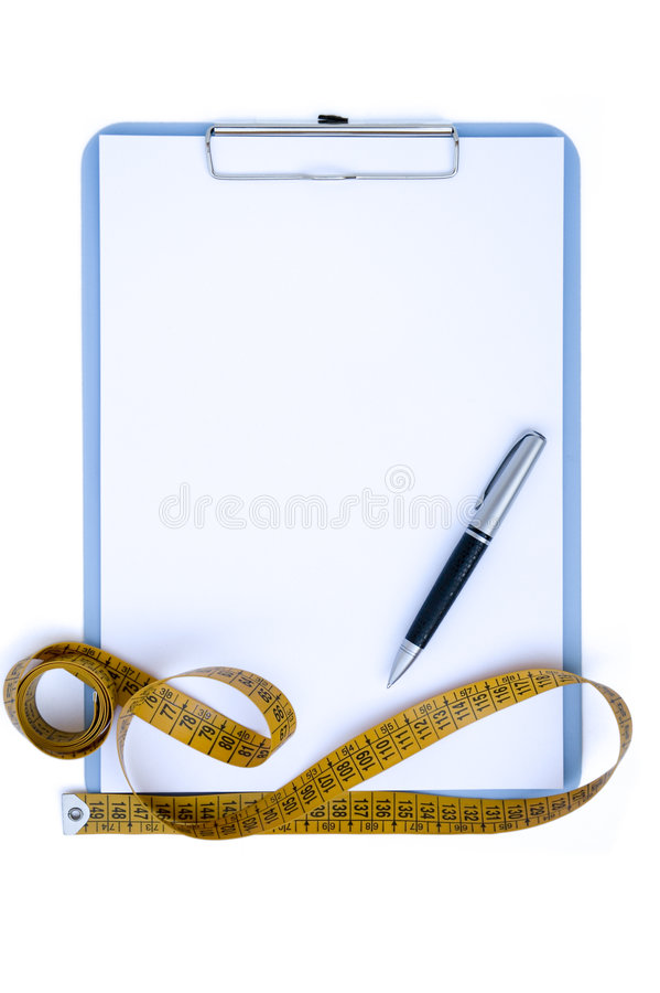 Clipboard with tape measure royalty free stock images