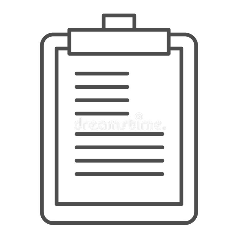 Clipboard thin line icon. Scheduler vector illustration isolated on white. Notepad outline style design, designed for. Web and app. Eps 10 vector illustration