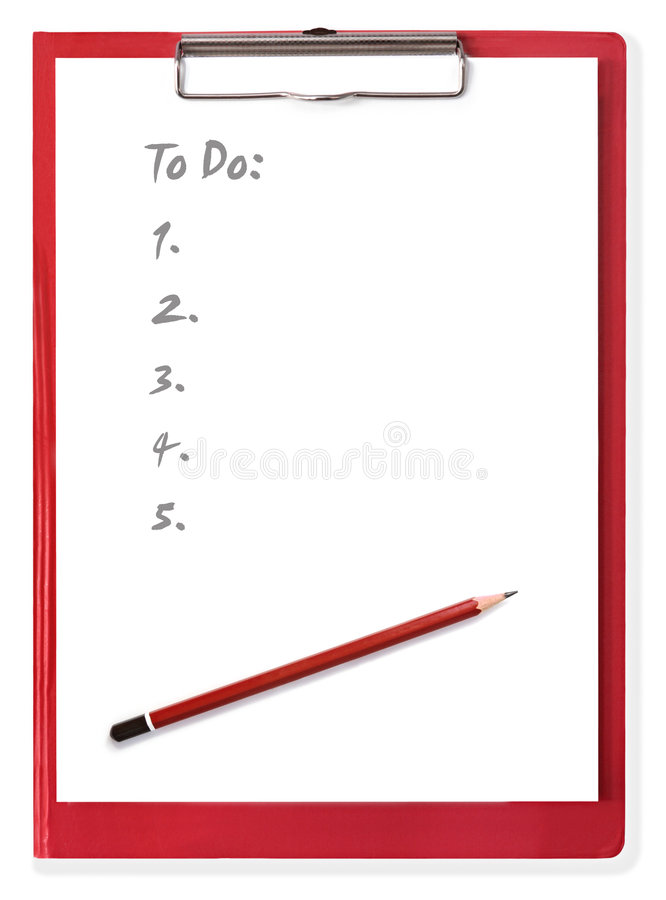 Clipboard with To Do List royalty free stock image