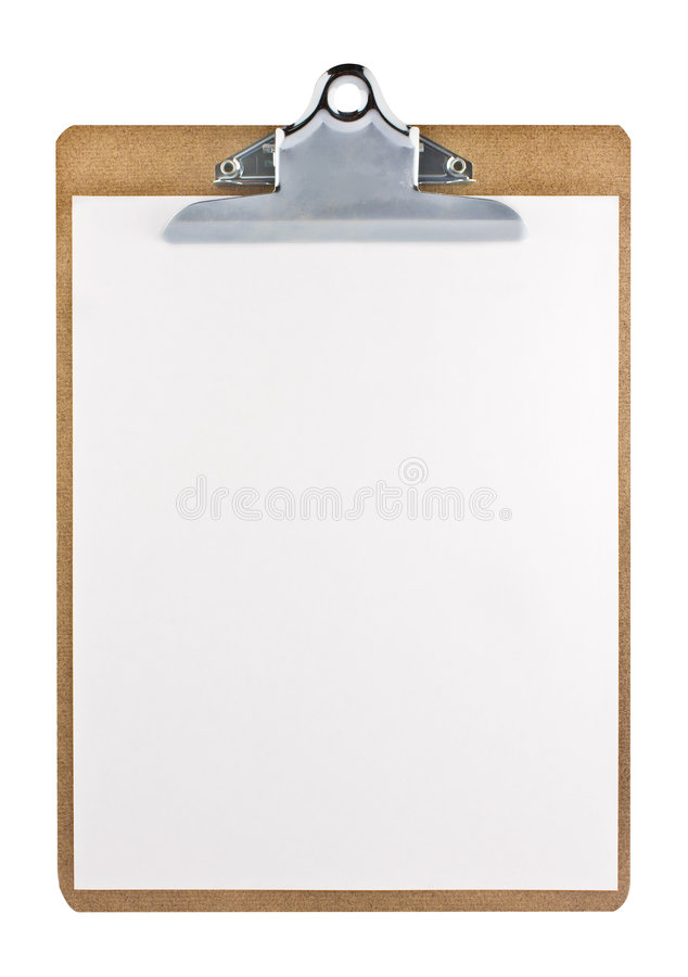 Clipboard with a white paper sheet royalty free stock photography