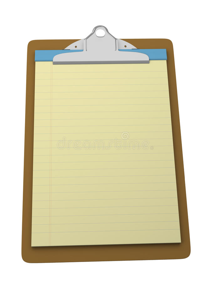 Clipboard with yellow legal pad royalty free stock photos