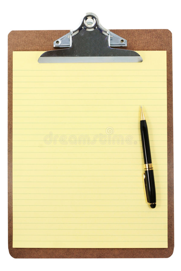 Clipboard and yellow paper royalty free stock images