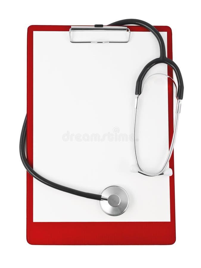 clipboardläkarundersökningstetoskop royaltyfri bild