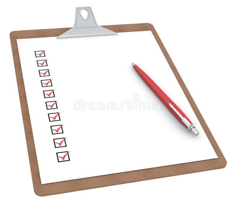 clipboardpenna x för 10 kontrollista stock illustrationer