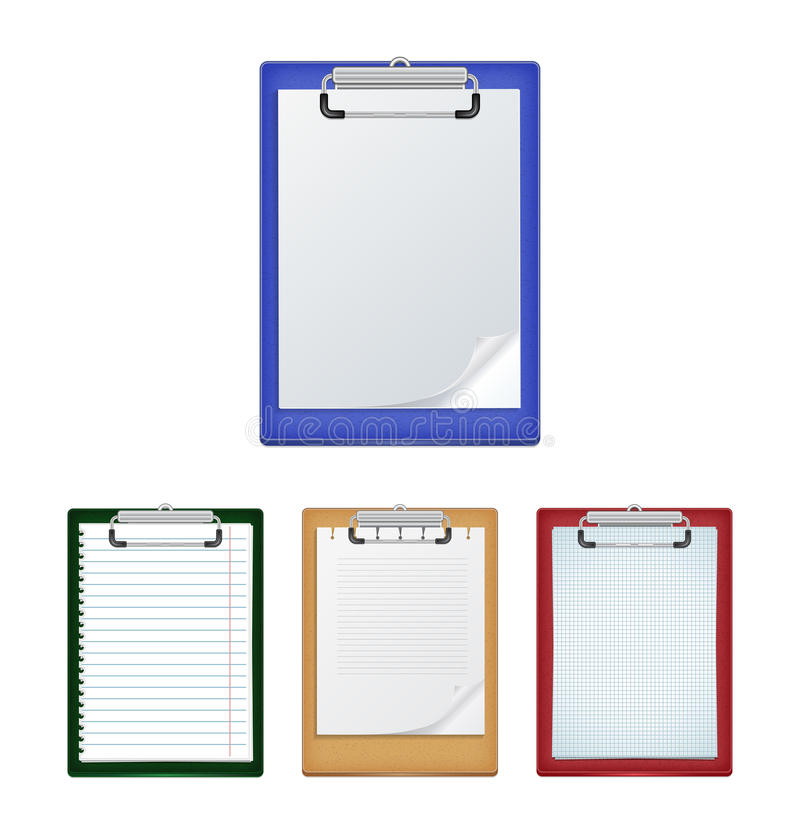 Clipboards with blank paper stock illustration