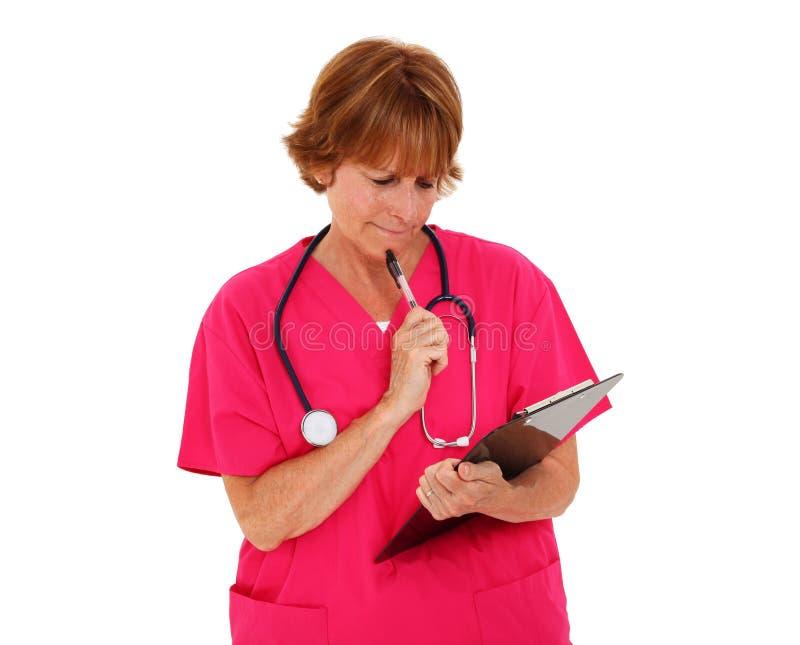 clipboardsjuksköterska arkivfoto