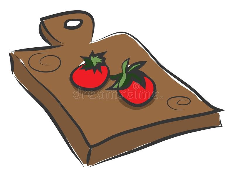 Clipe de dois tomates sobre um vetor de recorte de madeira ou ilustração colorida ilustração stock