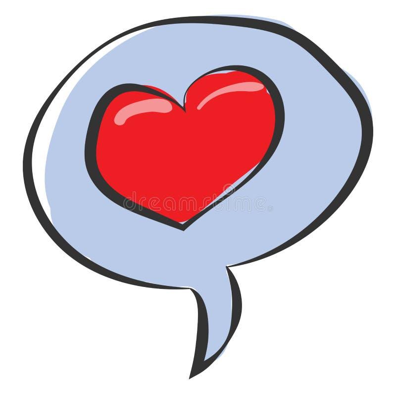 Clipe de uma bolha de fala com um vetor cardíaco vermelho ou ilustração de cor ilustração royalty free