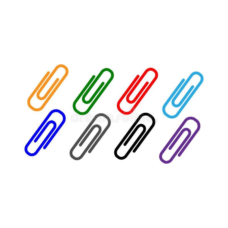 Clipes de papel coloridos Ajuste ?cones Plano para o projeto ilustração royalty free