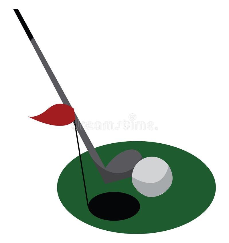 Clippart de campo de golfe com bola de buraco plano e desenho ou ilustração do vetor de bastão ilustração royalty free