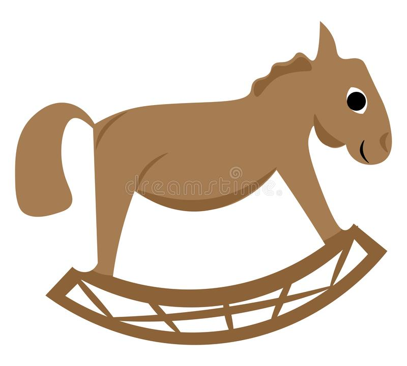 Clippart de um vetor de cavalo de balanço de brinquedo de cor castanha ou ilustração de cor ilustração do vetor