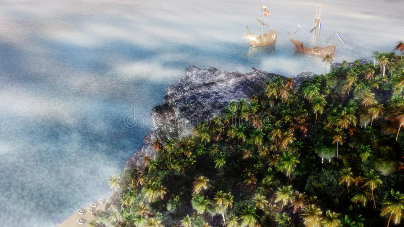 Clipper Ships Coast stock illustration