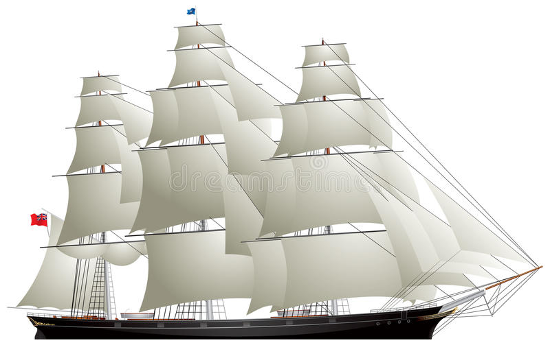 Clipper varend schip, clipper van de Thee