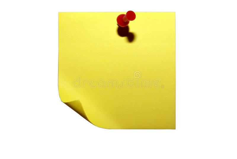 Clipping Isolerad Klibbig Yellow För Paper Bana Royaltyfri Bild