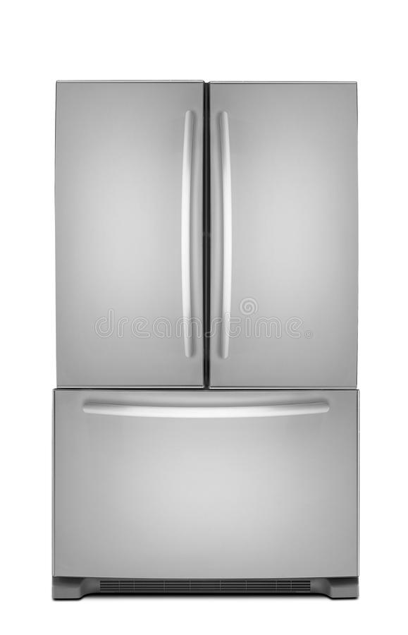Clipping path of the double door freezer stock illustration