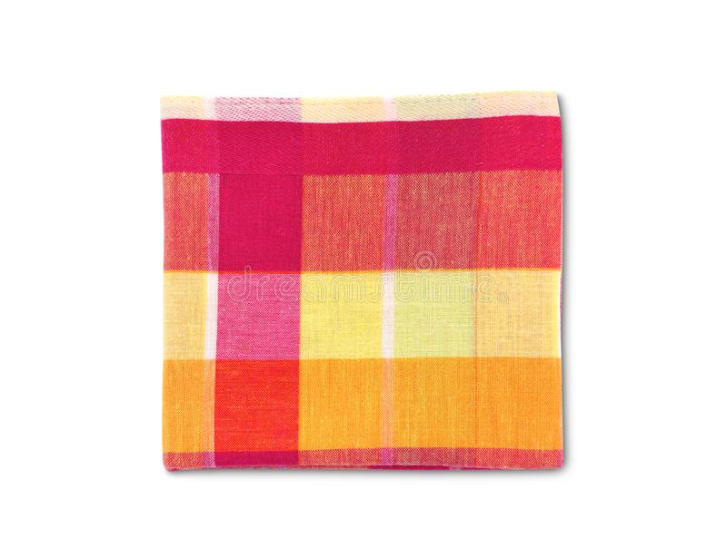 Folded checkered handkerchiefs isolated on white background. Clipping path, folded colorful checkered handkerchiefs isolated on white background stock photos