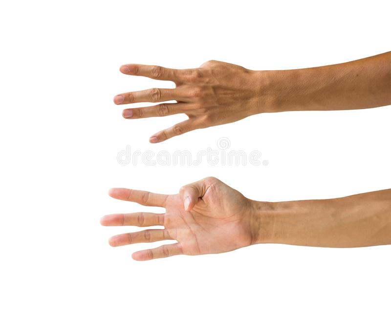 Clipping path hand gestures isolated on white background. Hand m stock photos