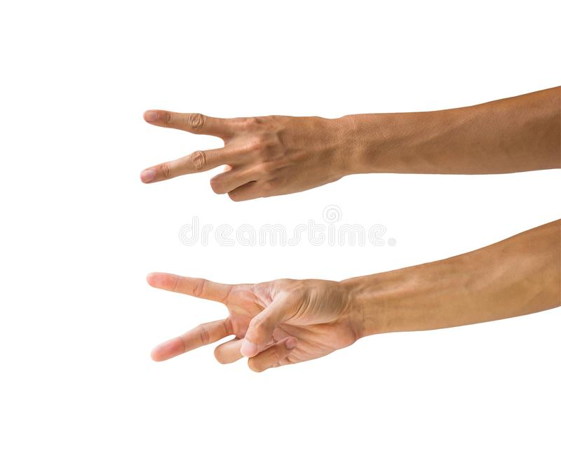 Clipping path hand gestures isolated on white background. Hand m royalty free stock photo