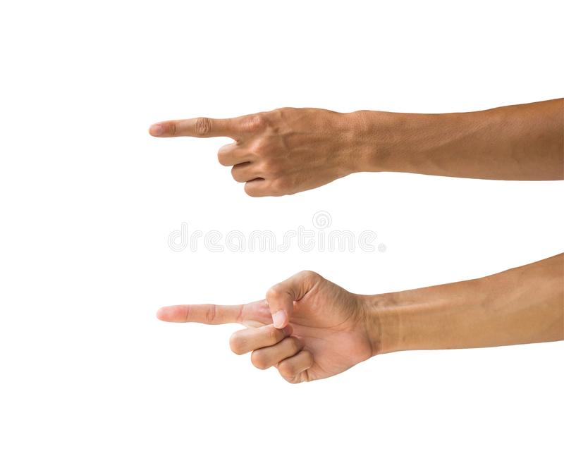 Clipping path hand gestures isolated on white background. Hand m stock image