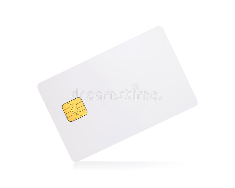 Clipping paths chip card isolated on white background. Template of blank credit card for your design vector illustration