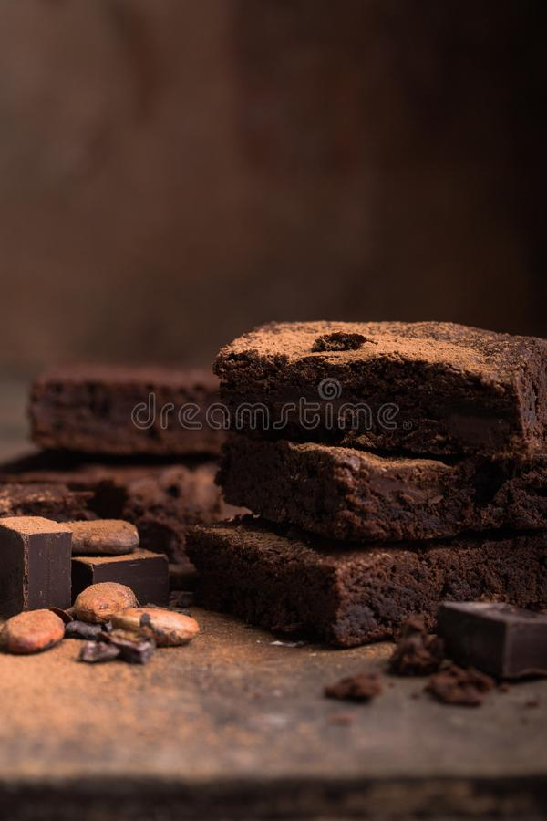 Clipping paths homemade dark chocolate brownies and strawberry delicious bitter sweet and fudge. Brownie is one type of chocolate royalty free stock photo