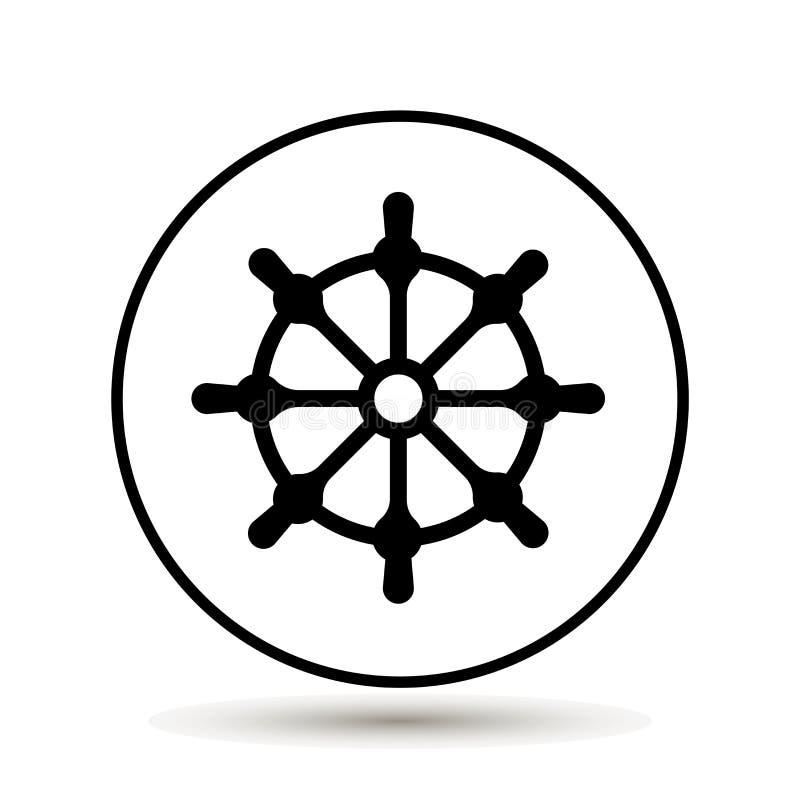 clipping som isoleras över white för banashiphjul Symbol för fartygstyrninghjul också vektor för coreldrawillustration stock illustrationer