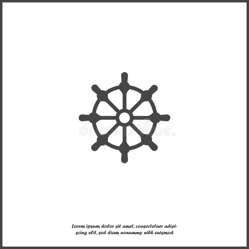 clipping som isoleras över white för banashiphjul Symbol för fartygstyrninghjul på vit isolerad bakgrund royaltyfri illustrationer