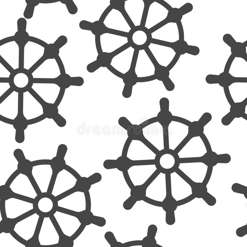 clipping som isoleras ?ver white f?r banashiphjul Modell för symbol för fartygstyrninghjul sömlös på en vit bakgrund royaltyfri illustrationer