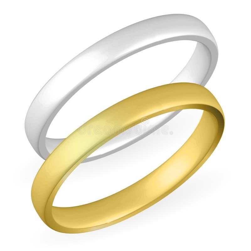 clippingmappen inkluderar isolerat gifta sig för parbanacirklar Guld- och försilvra Realistisk illustration för vektor 3D royaltyfri illustrationer