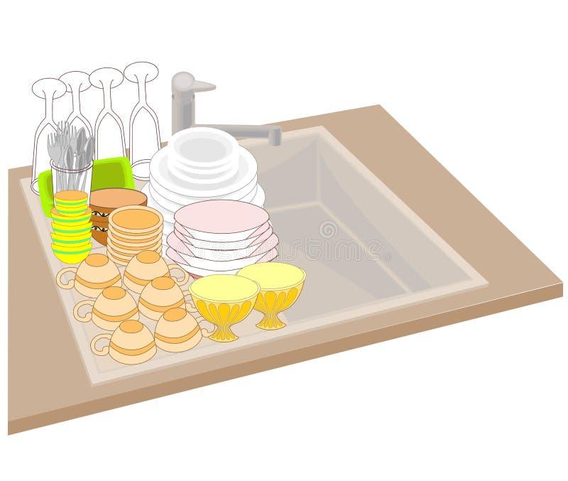 clippingmappen inkluderar k?kbanavasken Den rena disken staplas exakt på vasken nära vasken Bunkar, koppar, skedar, tvättade gaff stock illustrationer