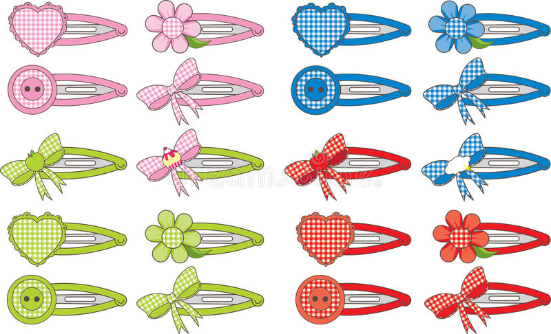 Clips de cheveu de mode de guingan illustration stock
