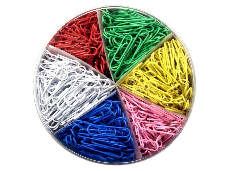 Clips de papel coloreados foto de archivo libre de regalías